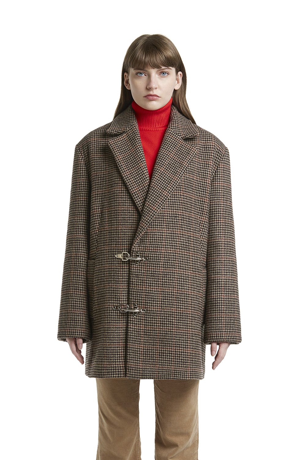Oversized Check Hook Coat