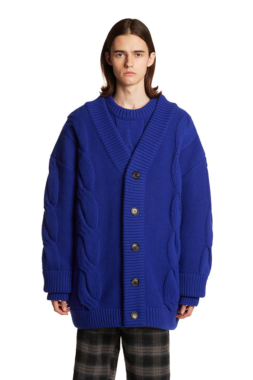 Cable Wool Knit Cardigan Jacket
