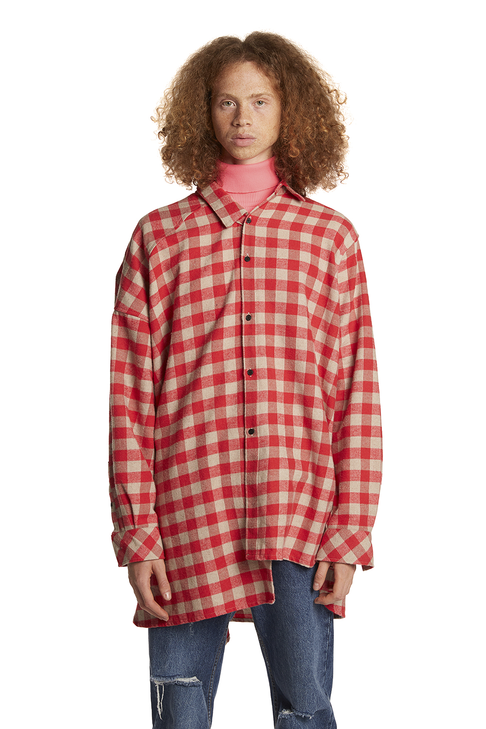 (SAMPLE) Unbalanced Sleeve Check Shirts