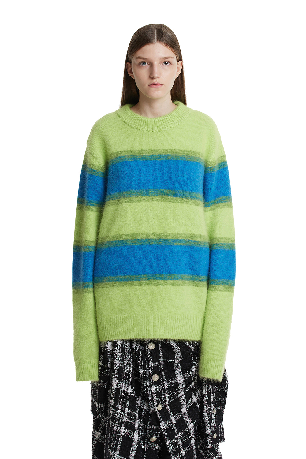 Angora Stripe Knit Sweater