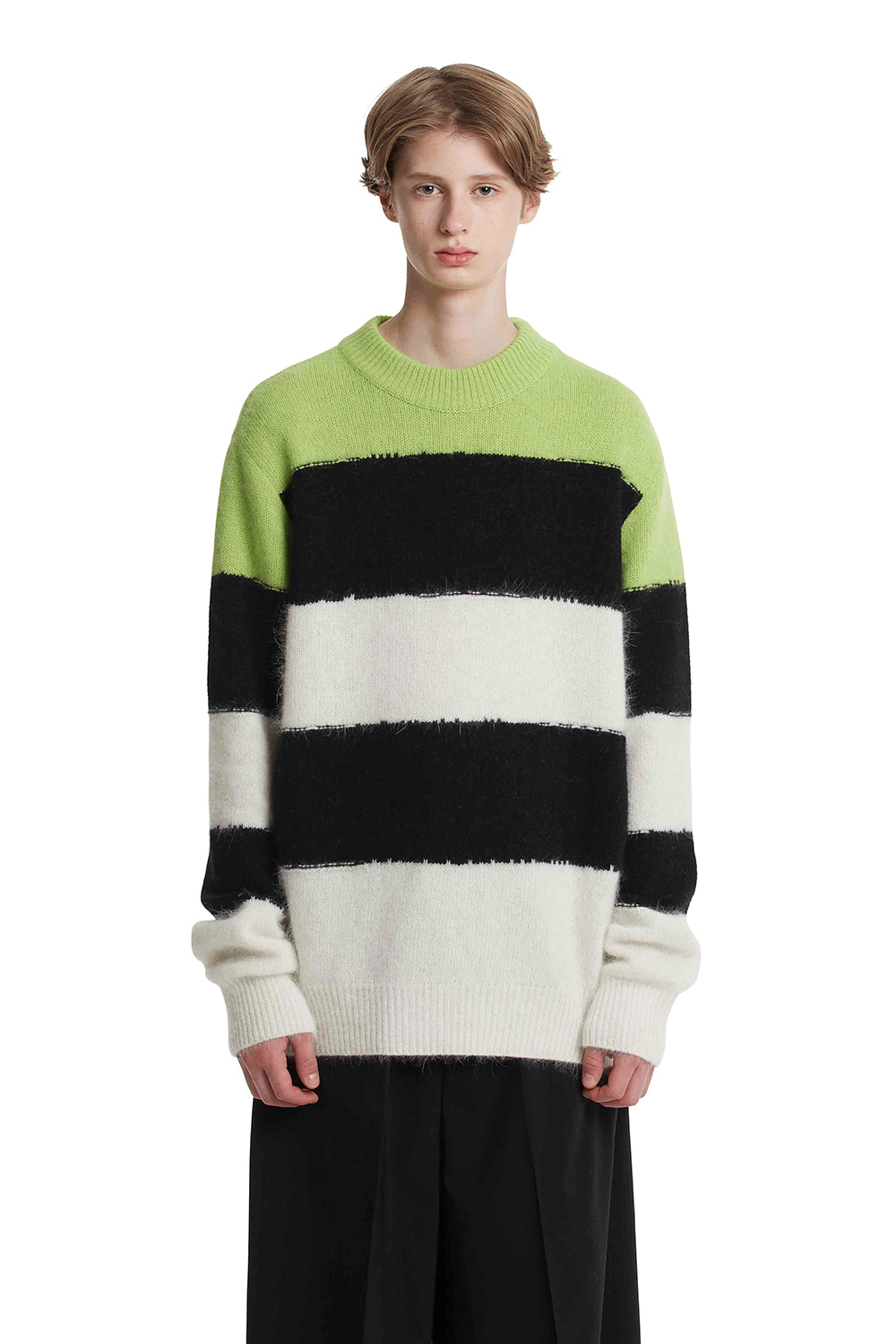 Angora Grunge Stripe Knit Sweater