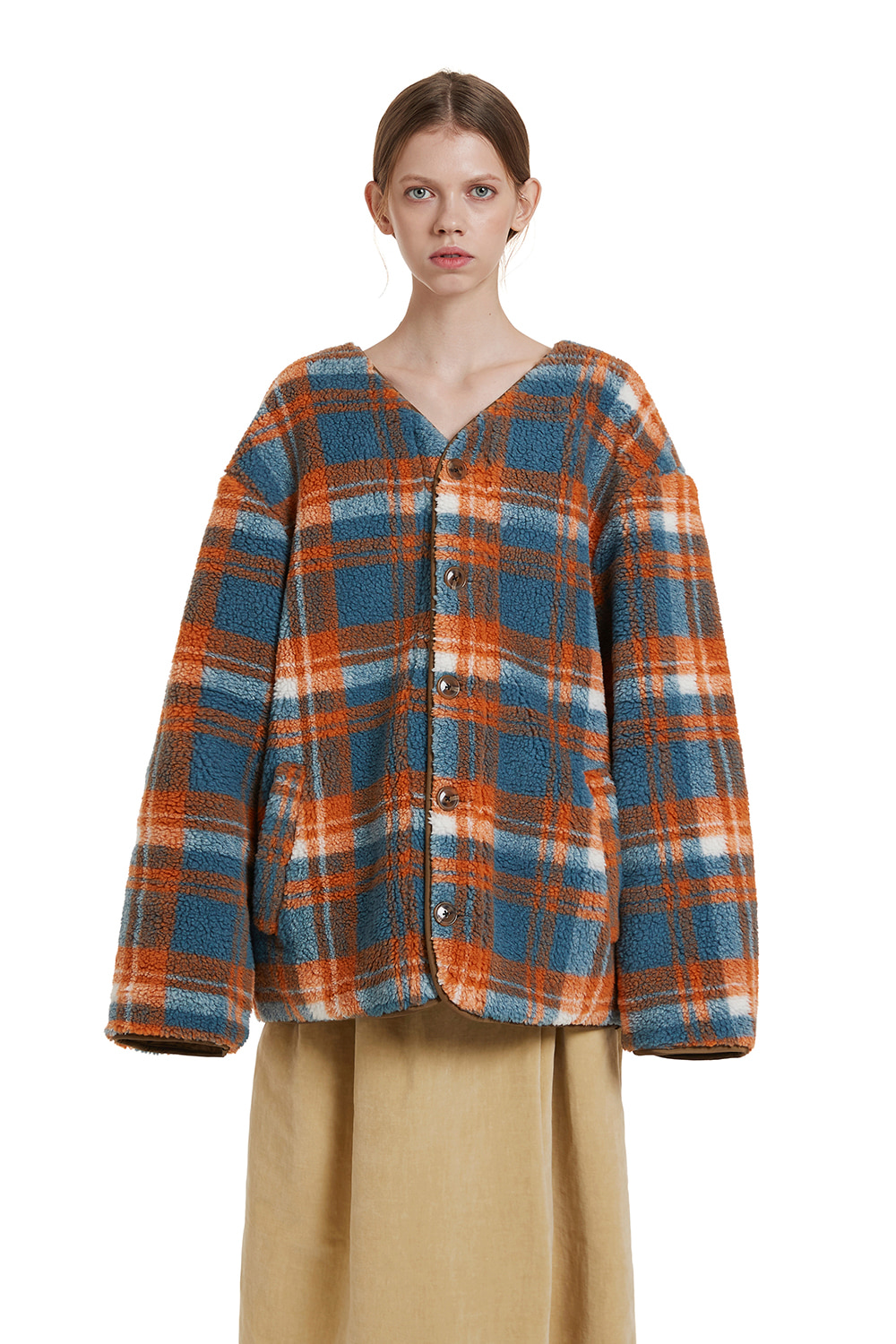 Fleece Check Cardigan Jumper
