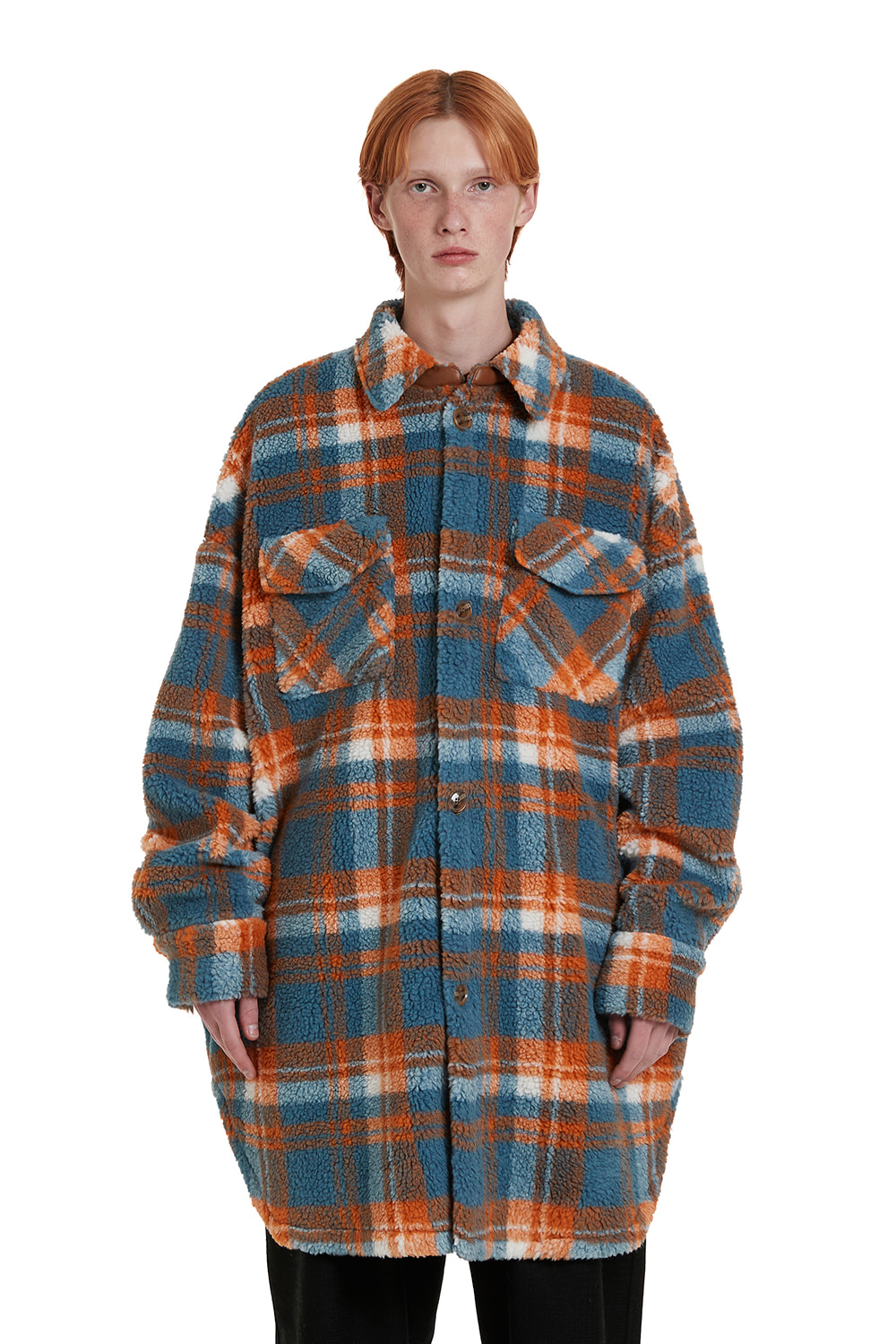 Fleece Check Shirt Coat