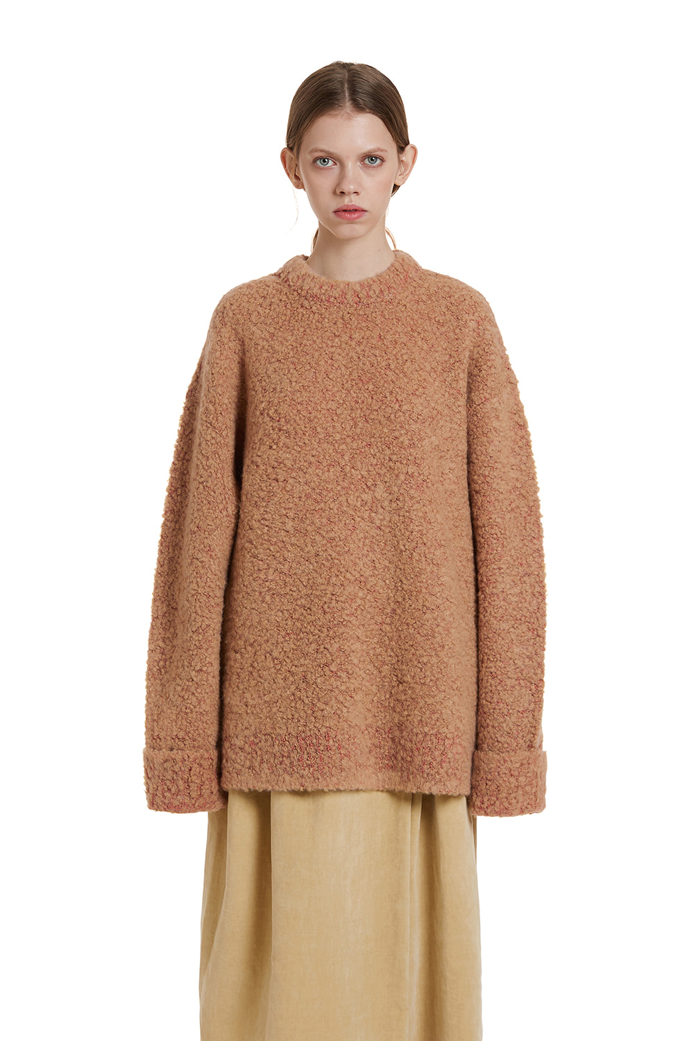 Two tone Boucle Knit Sweater