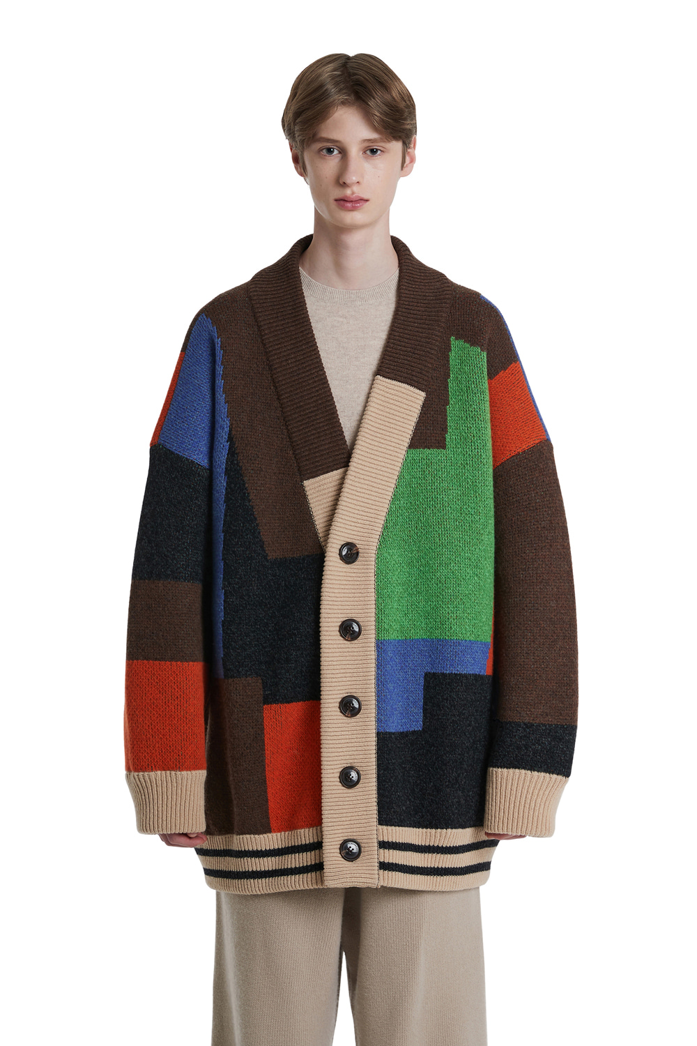 Color Mixed Wool Cardigan Jacket_Brown