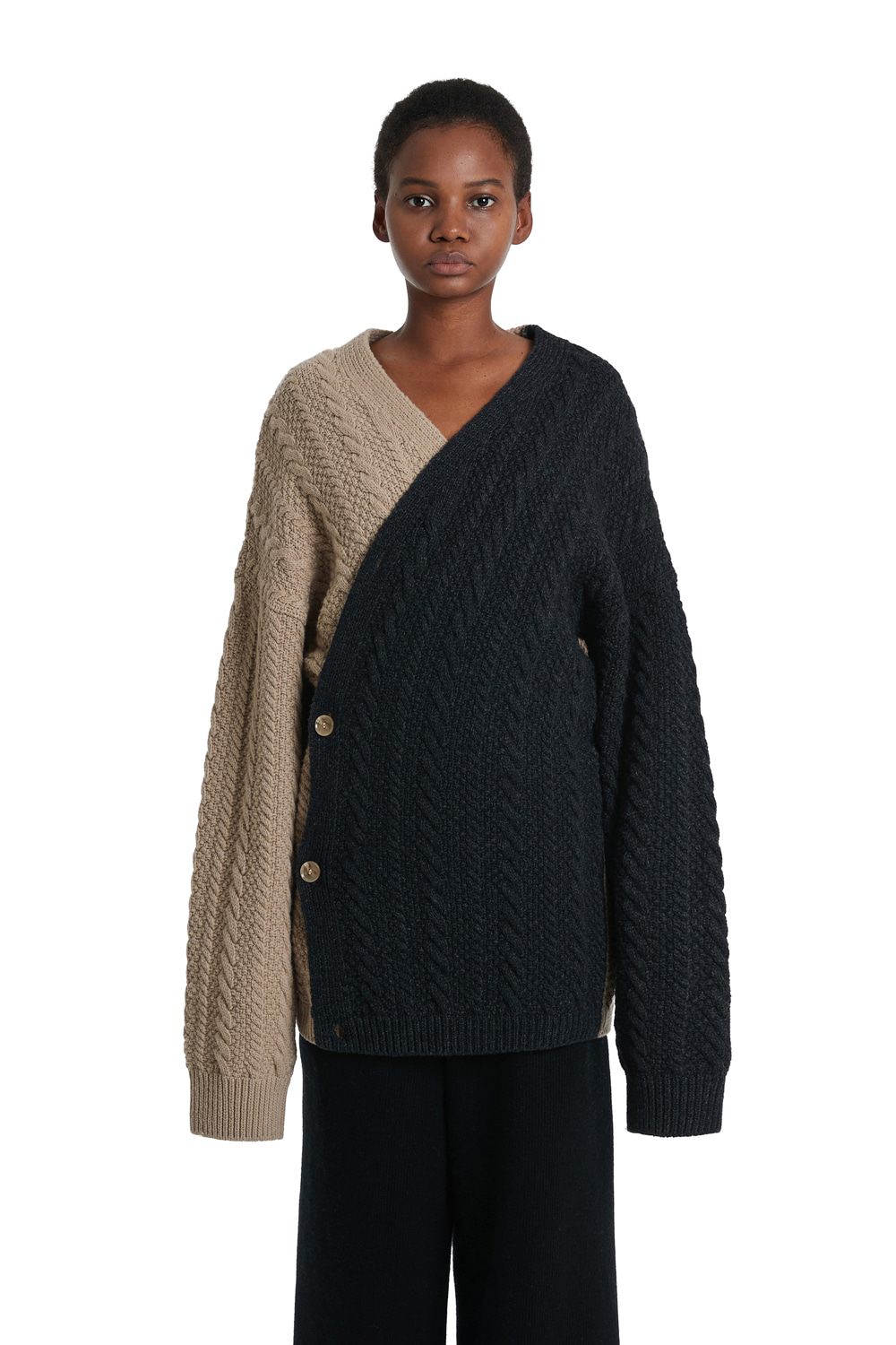 Cable Wrap Wool Cardigan Jacket
